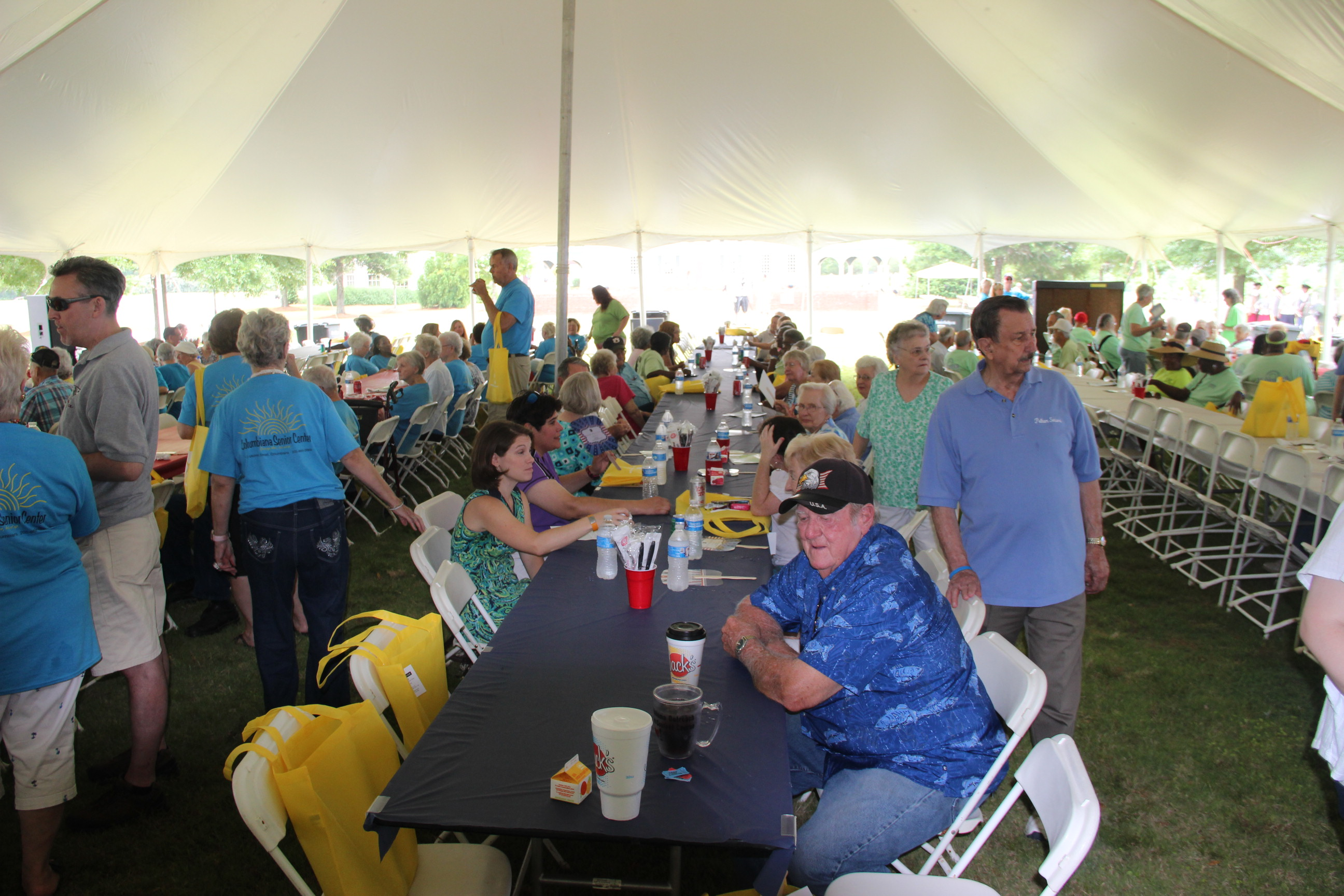 Image of people sitting at tables at the 2016 Senior Picnic