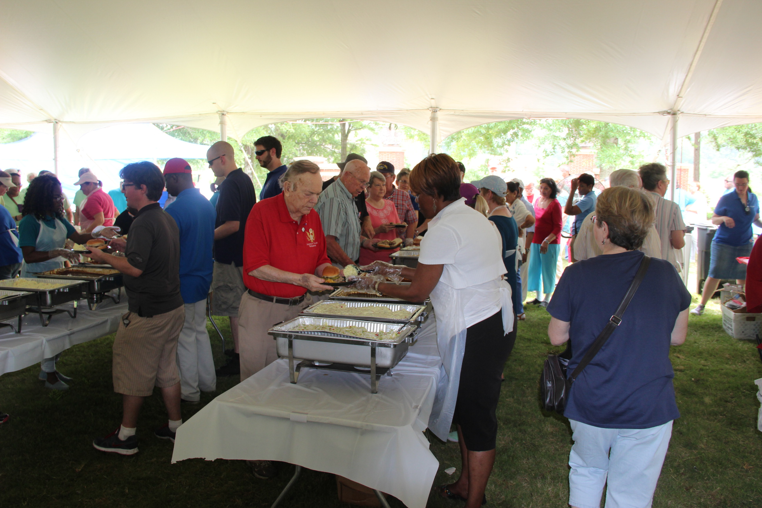 Image of lunch being serverd at the 2016 Senior Picnic