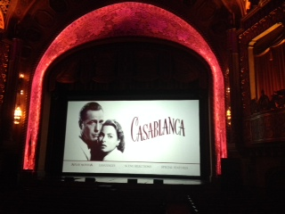 Image of the opening credits to the movie Casablanca at the Alabama Theatre